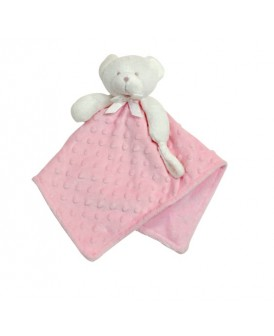 Doudou ourson rose attache...