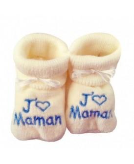 Chaussons écru J'aime Maman...