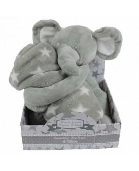 Peluche éléphant gris avec...