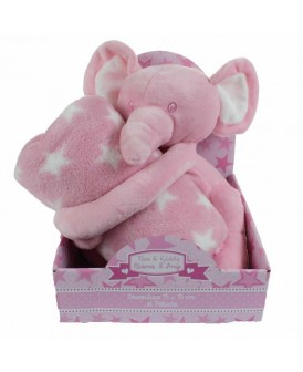 Peluche éléphant rose avec...