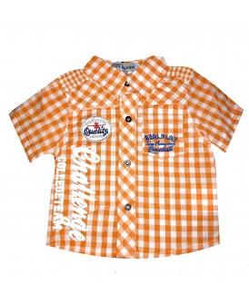 Chemise orange à carreaux