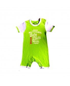 Barboteuse Baby Pilote verte