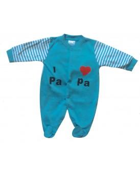 Grenouillère I LOVE PAPA bleue