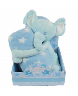 Peluche éléphant bleu avec...