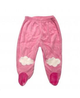 Pantalon à pieds velours rose