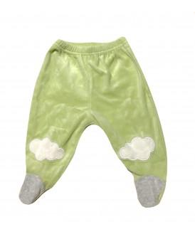 Pantalon à pieds velours vert