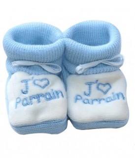 Chaussons bleus J'aime Parrain