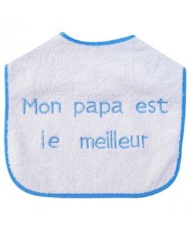 Bavoir blanc et bleu Mon...
